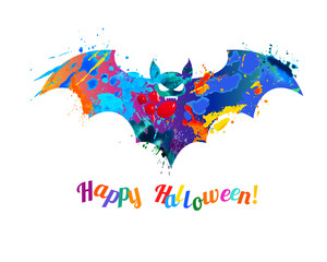 Happy Halloween card with bat