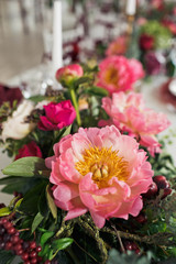 exquisite bouquet decorated with peonies