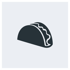 Taco icon, Mexican food icon, image jpg, vector eps, flat web, material icon, icon with grey background