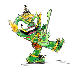 Thai Giant Green color Playing electric guitar character Design