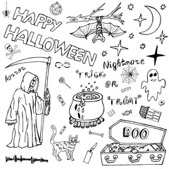 Happy Halloween Hand Drawn Vector set. Detailed Freehand Holiday Horror Sketch elements. Impression Handmade Doodles: Welcome to Scary Party. An Invitation from the creature. Drawing Illustration.