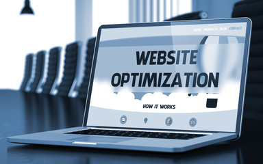 Laptop Screen with Website Optimization Concept. 3D.