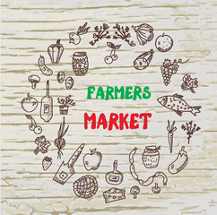 Farmers market design for the card or banner,