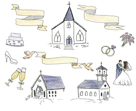 Hand-drawn wedding doodles set: bridegroom and bride, chapels, rings, bouquet, cake and decorative ribbons.
