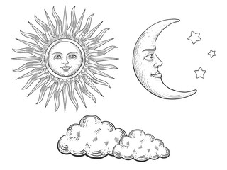 Sun moon with face and clouds engraving vector