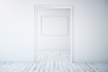 Minimalistic interior with picture frame