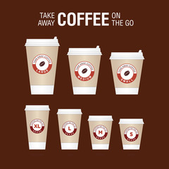 Coffee on the go cups. Different sizes of take away paper coffee cups vector illustration.