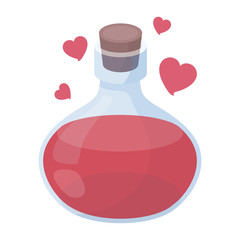 Love potion icon in cartoon style isolated on white background. Black and white magic symbol stock vector illustration.