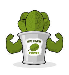 Spinach strong and powerful. Muscular arms of banks spinach. Hea