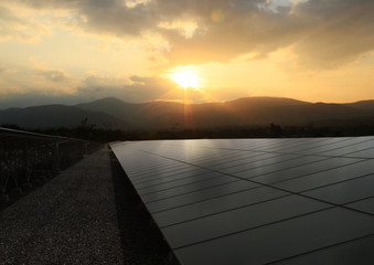 Solar panel with sunrise