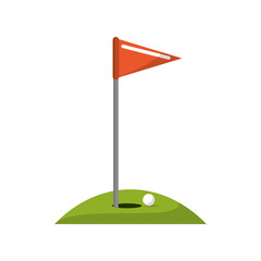 ball flag and hole icon. Golf sport competition and hobby theme. Isolated design. Vector illustration