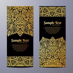 Invitation with hand drawn mandala pattern.