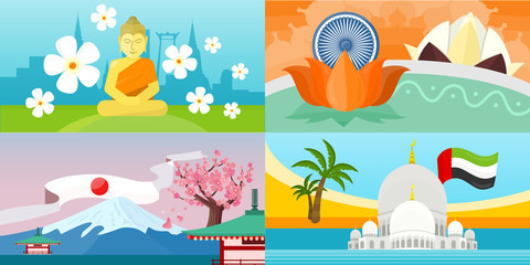India, Emirates, Thailand, Japan Travel Posters