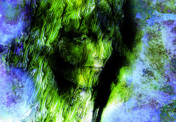 head of green woodland fairy on abstract background, illustration