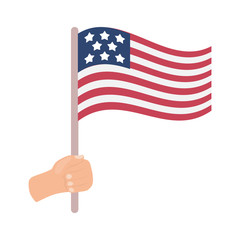 American flag icon in cartoon style isolated on white background. Patriot day symbol stock vector illustration.