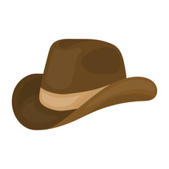 Cowboy hat icon in cartoon style isolated on white background. Patriot day symbol stock vector illustration.