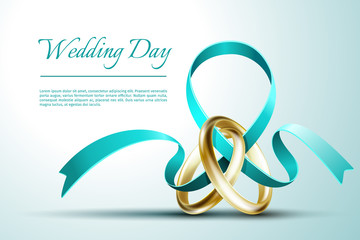 Wedding rings with ribbon invitation card vector template