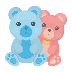 Teddy bears icon in cartoon style isolated on white background. Romantic symbol stock vector illustration.