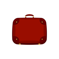 Red Handle bag suitcase on isolated white background. Vector icon illustration.