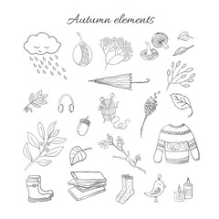 Vector handdrawn outline autumn elements isolated on background. Vector black and white  illustration.