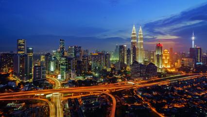 Majestic view of Kuala Lumpur city skyline at night