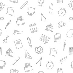 School elements pattern black icons
