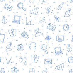 Communication&business pattern blue icons