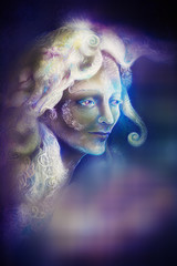 beautiful angel fairy spirit in rays of purple light, illustration