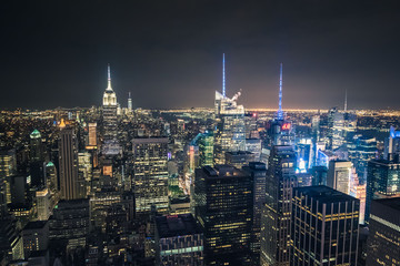 New York Night Skyline from Top of the Rock