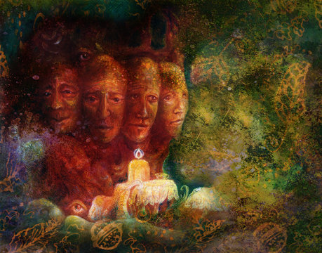 Sacred tree of four faces, fantasy colorful painting