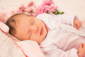Sweet dreams for a newborn baby girl