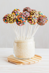 Healthy cake pops on a stick
