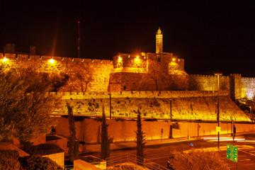 Ancient Citadel inside Old City at Night, Jerusalem