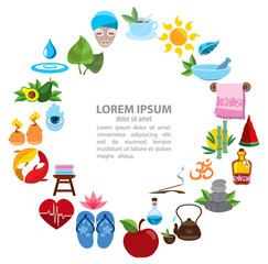 Spa infographics and healthy lifestyle icons