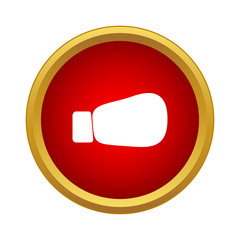 Boxing glove icon in simple style in red circle. Sport equipment symbol
