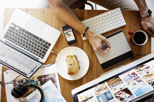 Working Overload Digital Device Internet Working Concept