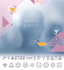 Medical and health background and icons set vector. people silhouettes and geometric abstract molecule