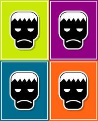 new and creative style sticker on background Frankenstein