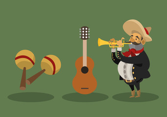 mariachi with mexican culture related icons image vector illustration