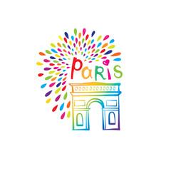 Paris sign Triumph Arch. French famous landmark Arc de Triomphe. Travel France illustration