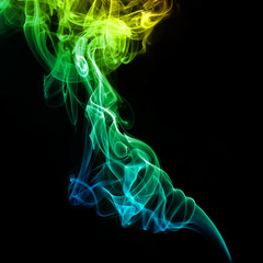 Colorful yellow and green smoke