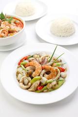 Thai Food, Stir-fried Black Pepper with Seafood Tom-Yum
