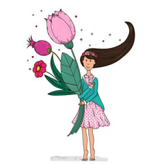 Little beautiful cute girl with a bouquet . Doodle style.