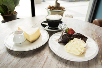 Flourless Chocolate Cake and cheese cake with cappuchino coffee