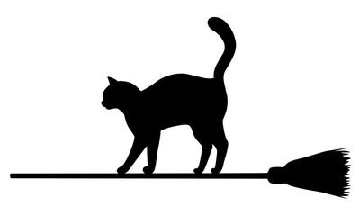 Silhouette of black cat on broomstick.