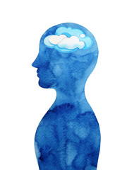cloudy in human head abstract thought watercolor painting illustration design