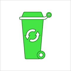 Big trash can with Recycle symbol on wheels sign flat icon on background
