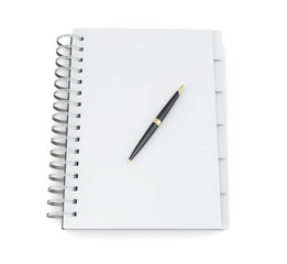 Blank notebook and pen isolated on white background. 3d renderin