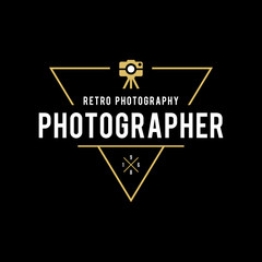 Set of Photography Logo Design Templates. Photography Retro Badges and Labels. Black and Golden Colors. Wedding Photography. Photo Studio. Camera Shop.