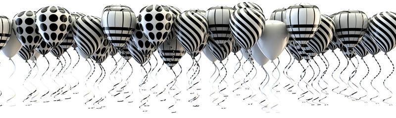 Fondo 3D,globos aislados en blanco.Cumpleaños,fiestas y bodas.Motivos florales y estilo vintage